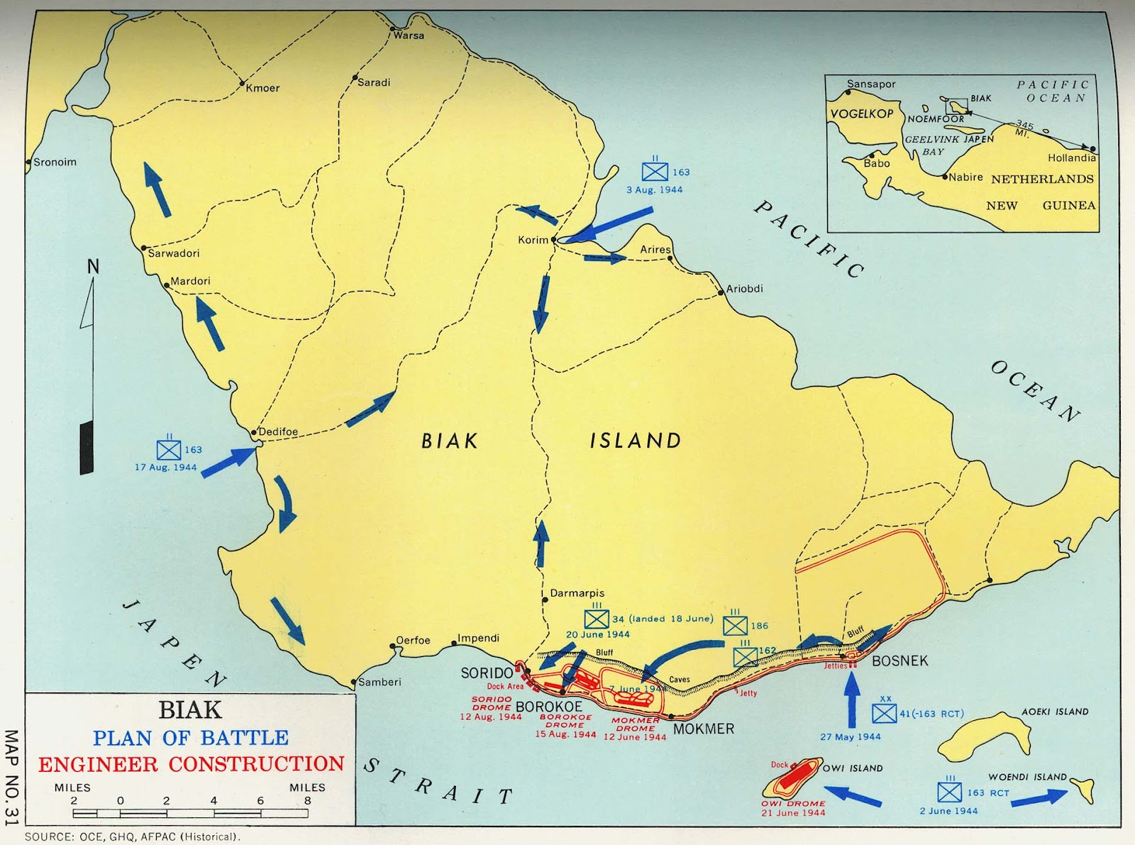 map of biak showing southern coast where all the fighting is map from http www 3rdattackgroup org maps php