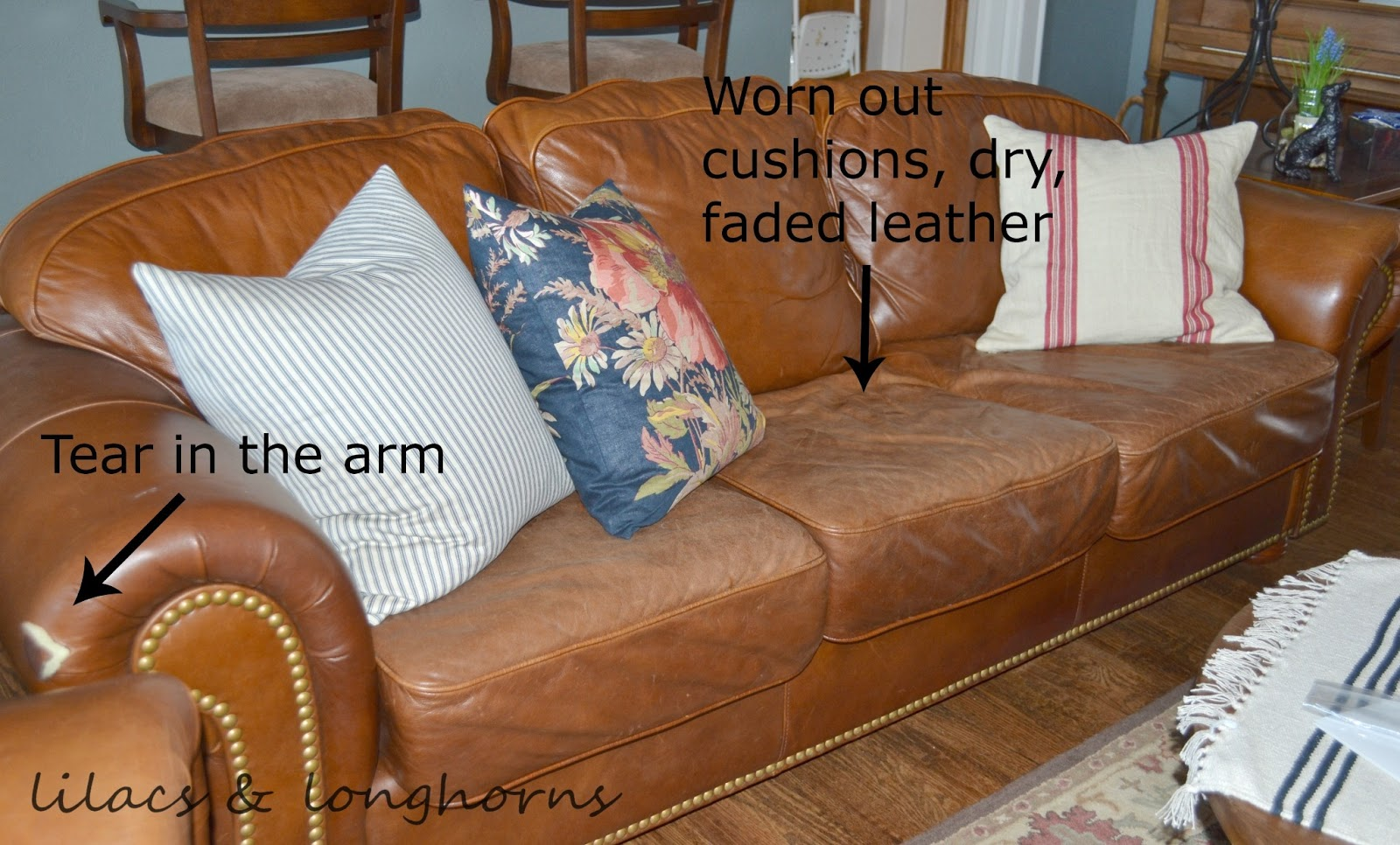 ... The Leather Was Dry And Worn And The Couch Had A Few Stains On The Seat  Cushions. Oh, And There Was Also A Tear On One Of The Arms.