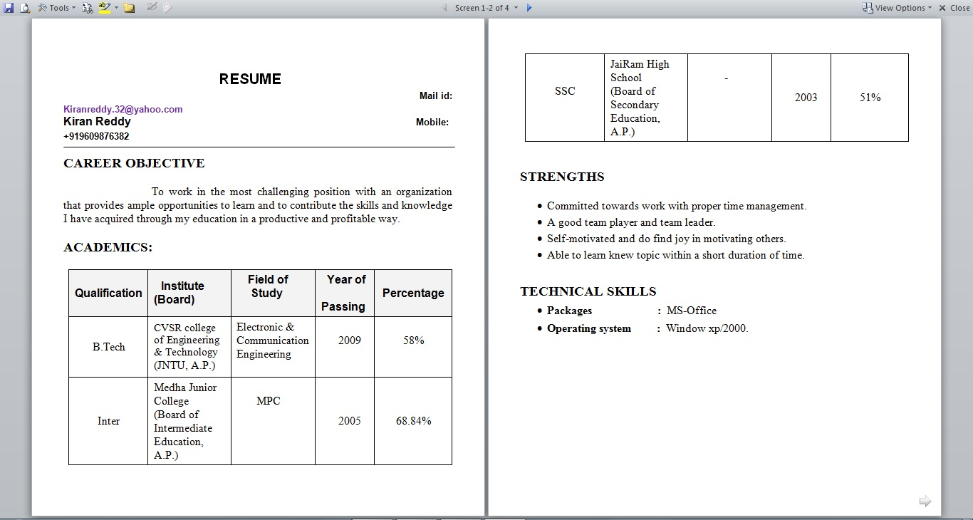 resume format for fresher and experience