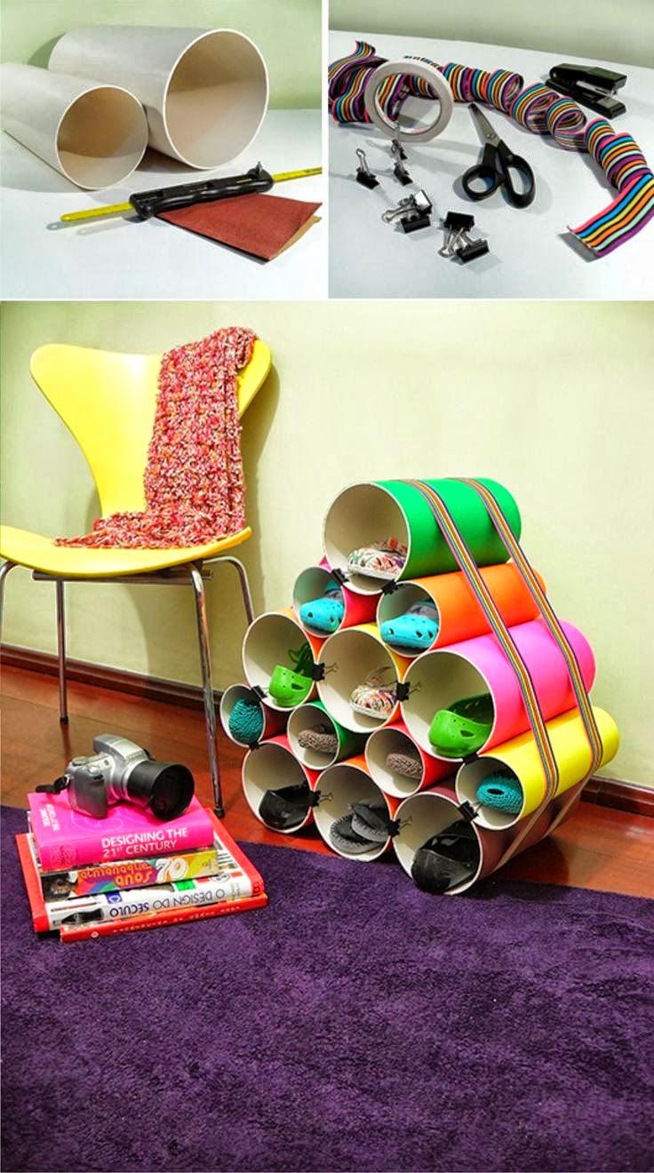 Manualidades creativas y faciles zapatero de tubos de pvc for Zapatero para habitacion