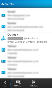 Outlook Account in Z10