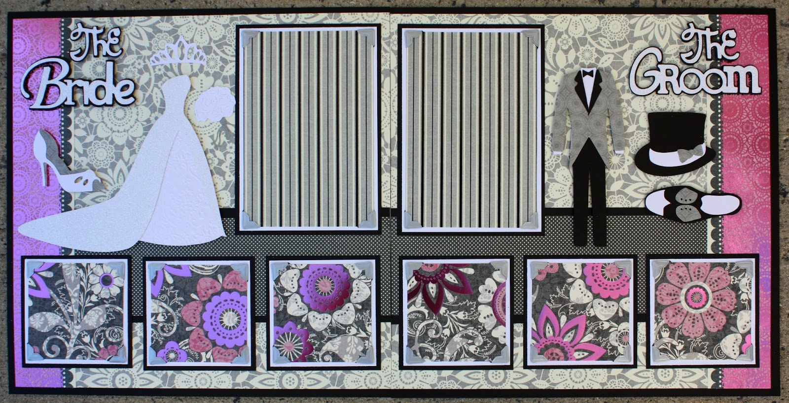 Wedding scrapbook ideas layouts - The Dress Shoe Bouquet And Tiara Were All Cut From The Wedding Solutions Cartridge At 5 5 2 2 And 1 Respectively