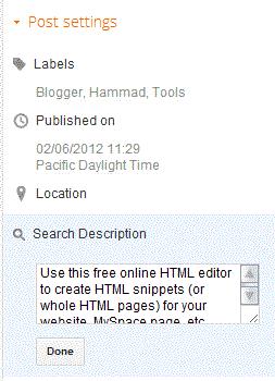 blogger search description feature screenshot