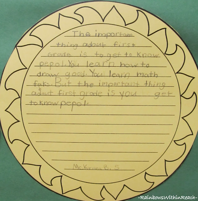 photo of: First Grade Writing Sample for End of Year Suggestions