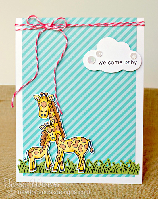 Giraffe welcome baby card by Tessa Wise for Newton's Nook Designs | Wild Child Stamp Set