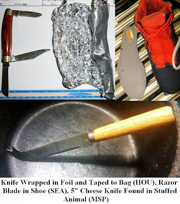 A pocketknife was discovered wrapped in aluminum foil and taped to the bottom of a bag -- A cheese Knife