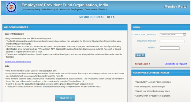 EPFO India Online Registration at member.epfoservices.in