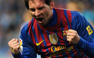 Lionel Messi scoring for FC Barcelona