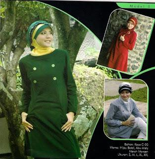Mazaya Busana Muslim Hijau Abu misty Merah marun