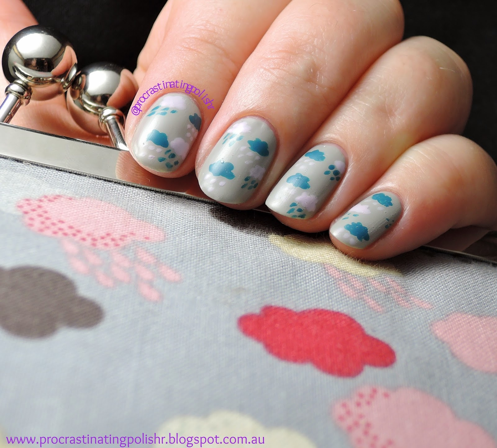 Tri Polish Tuesday - Rain Cloud Nail Art