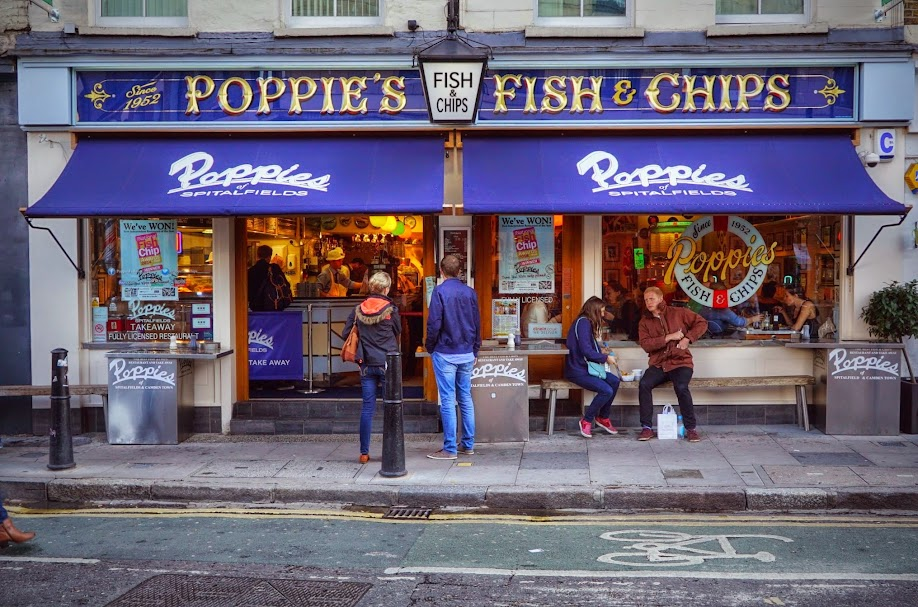 Happening london poppies fish chips spitalfields for Fish and chips london