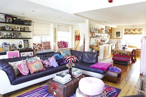 Decoracao Sala Hippie ~ Essa casa londrina representa bem as cores e estampas dos anos 70