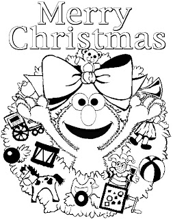 Elmo Marry Christmas Coloring Pages