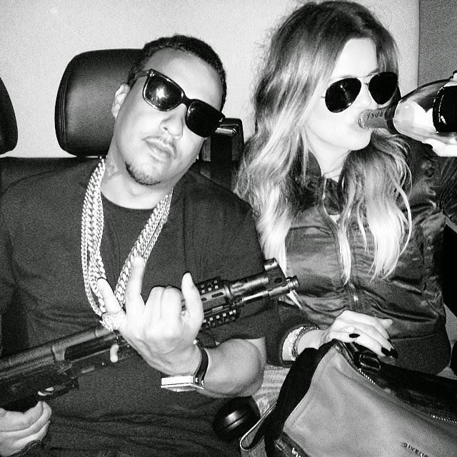Khloe Kardashian junto a French Montana con un armamento de guerra