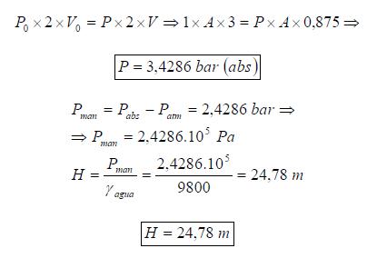 Ejercicio resuelto de Fluidos estatica ejercicio 1 formula 6 proceso isotermo