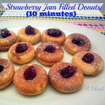 With A Blast: Strawberry Jam Filled Donuts {10 minutes!} #donuts #doughnuts #filleddonuts #strawberries #sweettreats