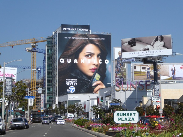 Giant Quantico series premiere billboard Sunset Strip