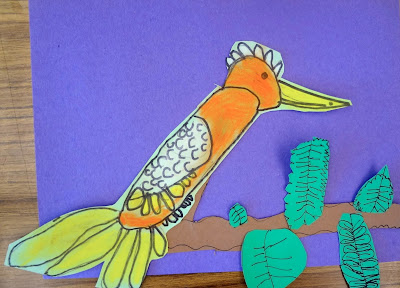 spring art project, bird art project, kids spring art project, bird drawing project