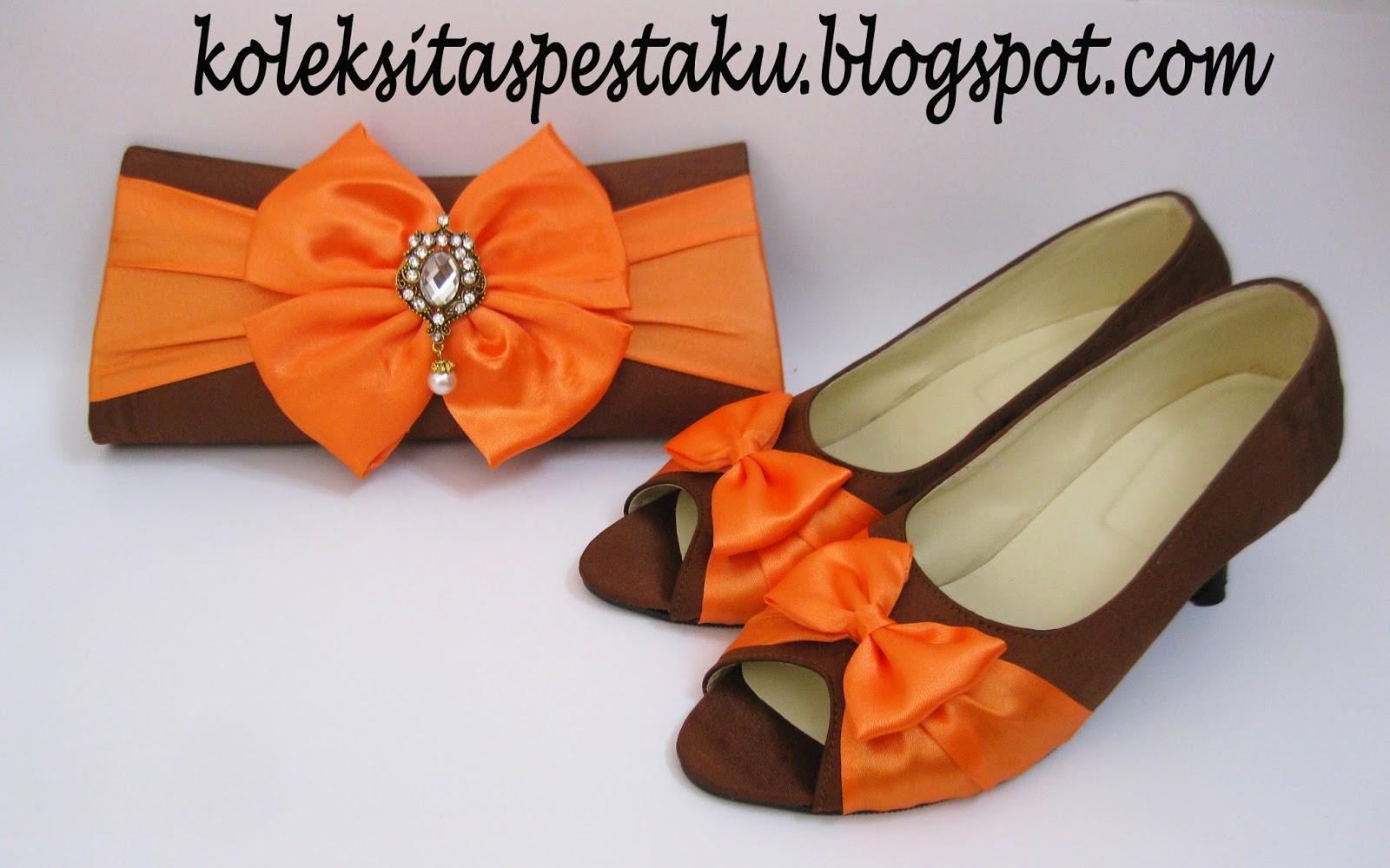 Sepatu Pesta dan Tas Pesta Perpaduan Coklat Orange Unik