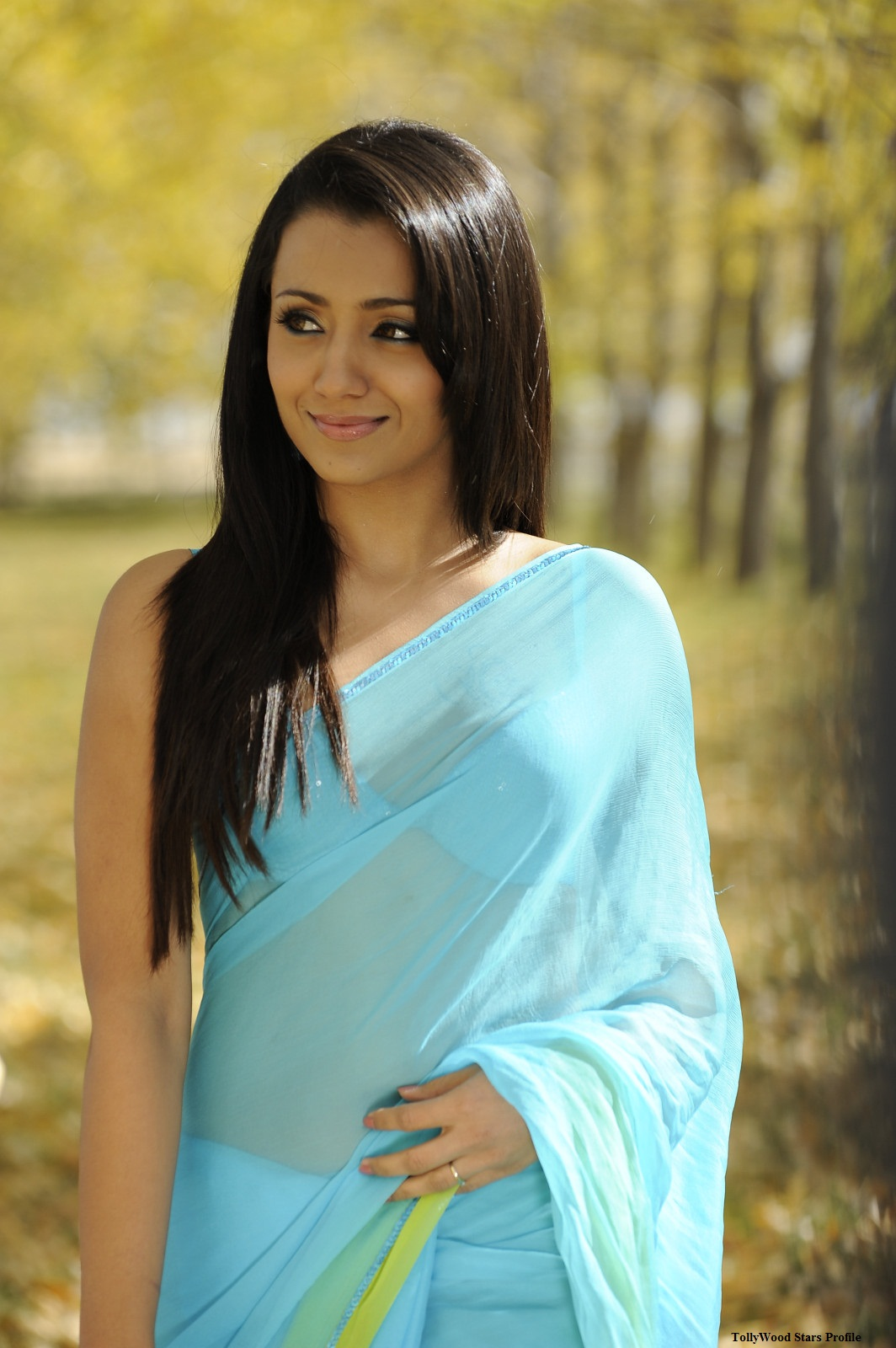 Blue Saree Stills From Body Guard Movie   Trisha In Blue Saree Spicy