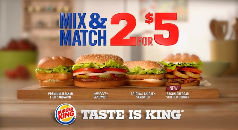 Burger King Worldwide is inviting guests to mix and match their favorite sandwiches at an unbeatable kleiderschrank.tkble for a limited-time only at participating Burger King restaurants, guests can select two sandwiches for just $5 from three signature options, including the iconic WHOPPER Sandwich, the Original Chicken Sandwich, or the Premium Alaskan Fish Sandwich.