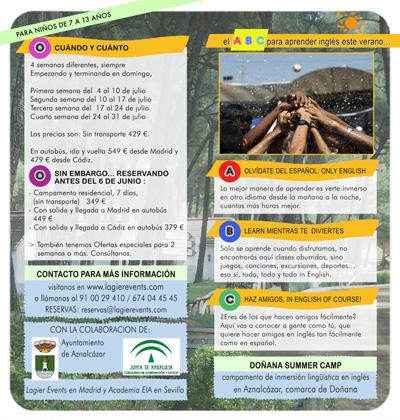diseño de folleto para campamentos de verano en el Coto de Doñana, aprender inglés