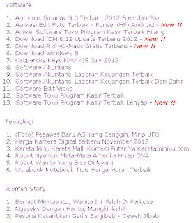 Daftar Isi (sitemap) Blog