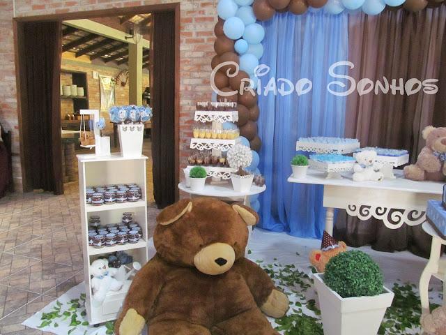 festa jardim dos ursos:Criando Sonhos: Decoração de Festa infantil Ursos Azul e marrom