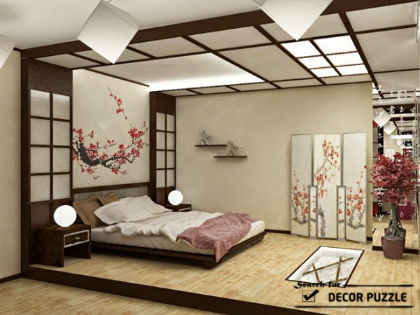 Lovely japanese style bedroom design ideas curtains for Asian room decoration