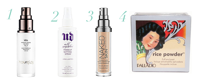 makeup products that are long lasting, Urban Decay All Nighter Spray, Urban Decay Naked Skin Foundation, Hourglass Veil Mineral Primer