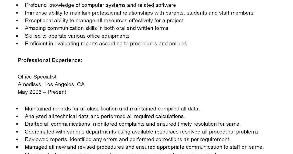 resume sles sle office specialist resume