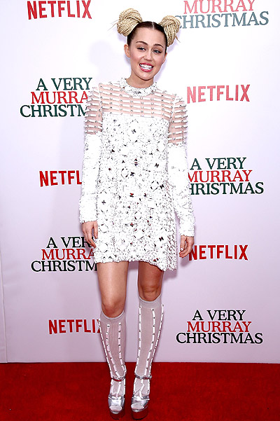 Miley Cyrus at the premiere of the new film A Very Murray Christmas