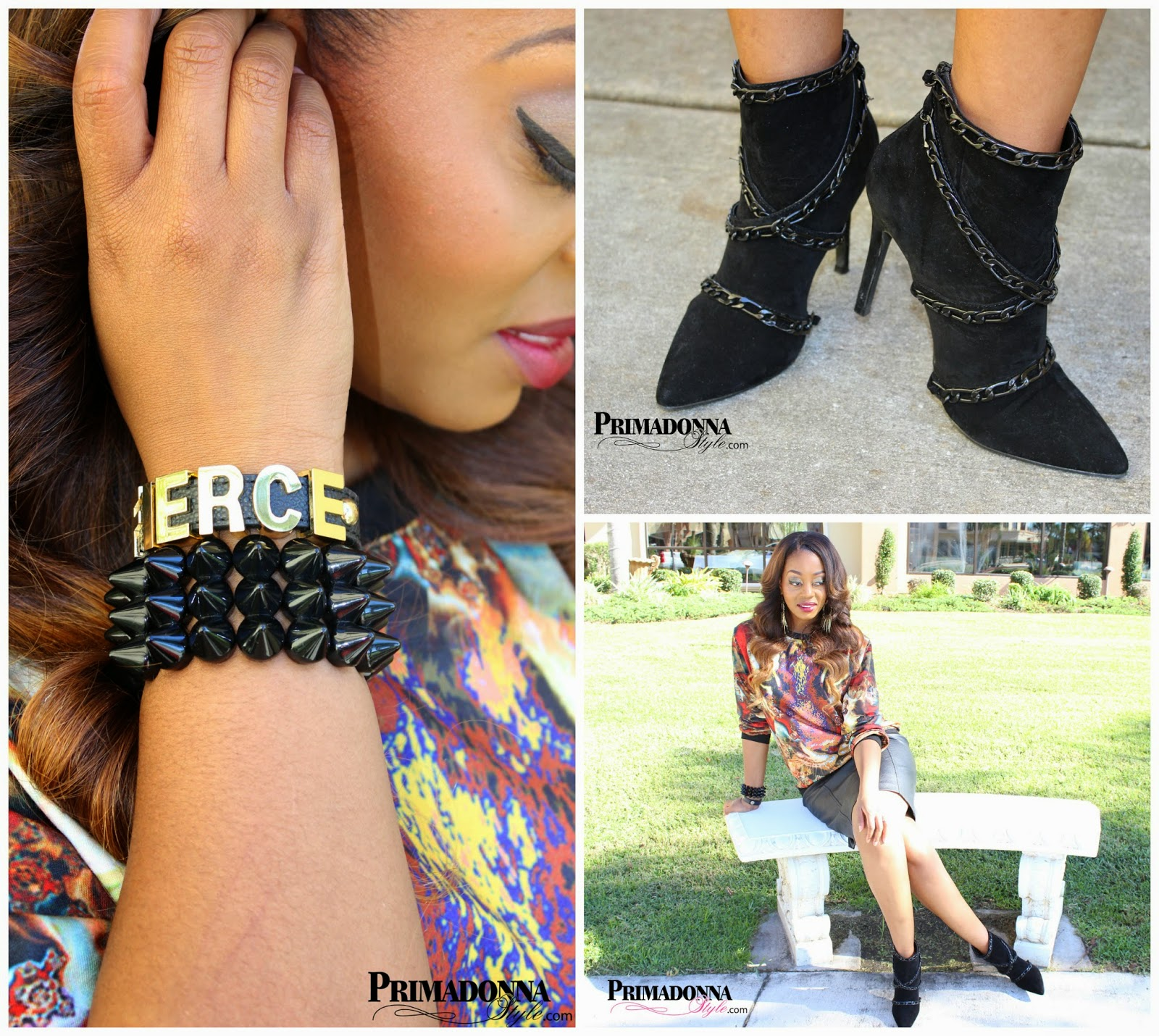 Romwe Multi Lion Print Sweatshirt (sold out)  Worthington Faux Leather Pencil Skirt (Similar Option)  Shoe Dazzle Adeena Ankle Boot  Baubles & Bling  by Cynthia Spike Bracelet   BCBGeneration Fierce Affirmation Bracelet