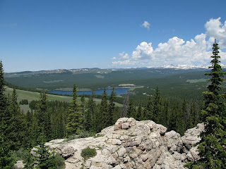 View of meadowlark lake from Big Horn fire tower taken by Heidi Frederick