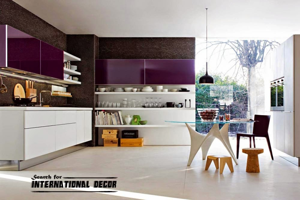 Italian kitchen, Italian cuisine, modern kitchen purple and white