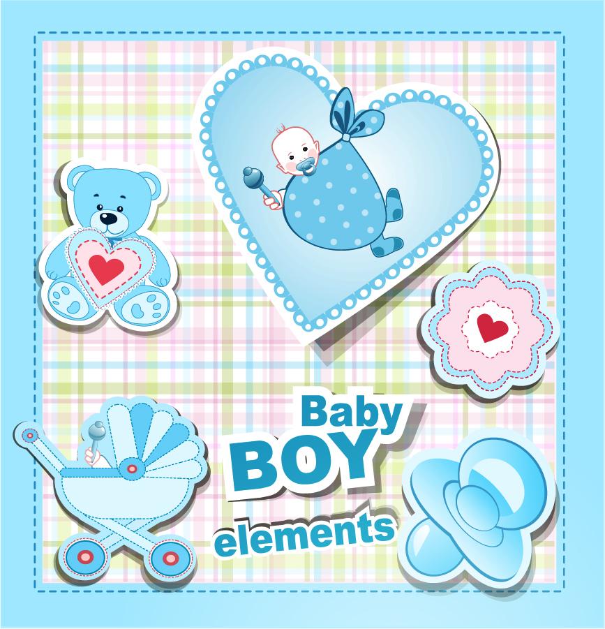 赤ちゃんをテーマにしたクリップアート cartoon baby stickers vector イラスト素材2