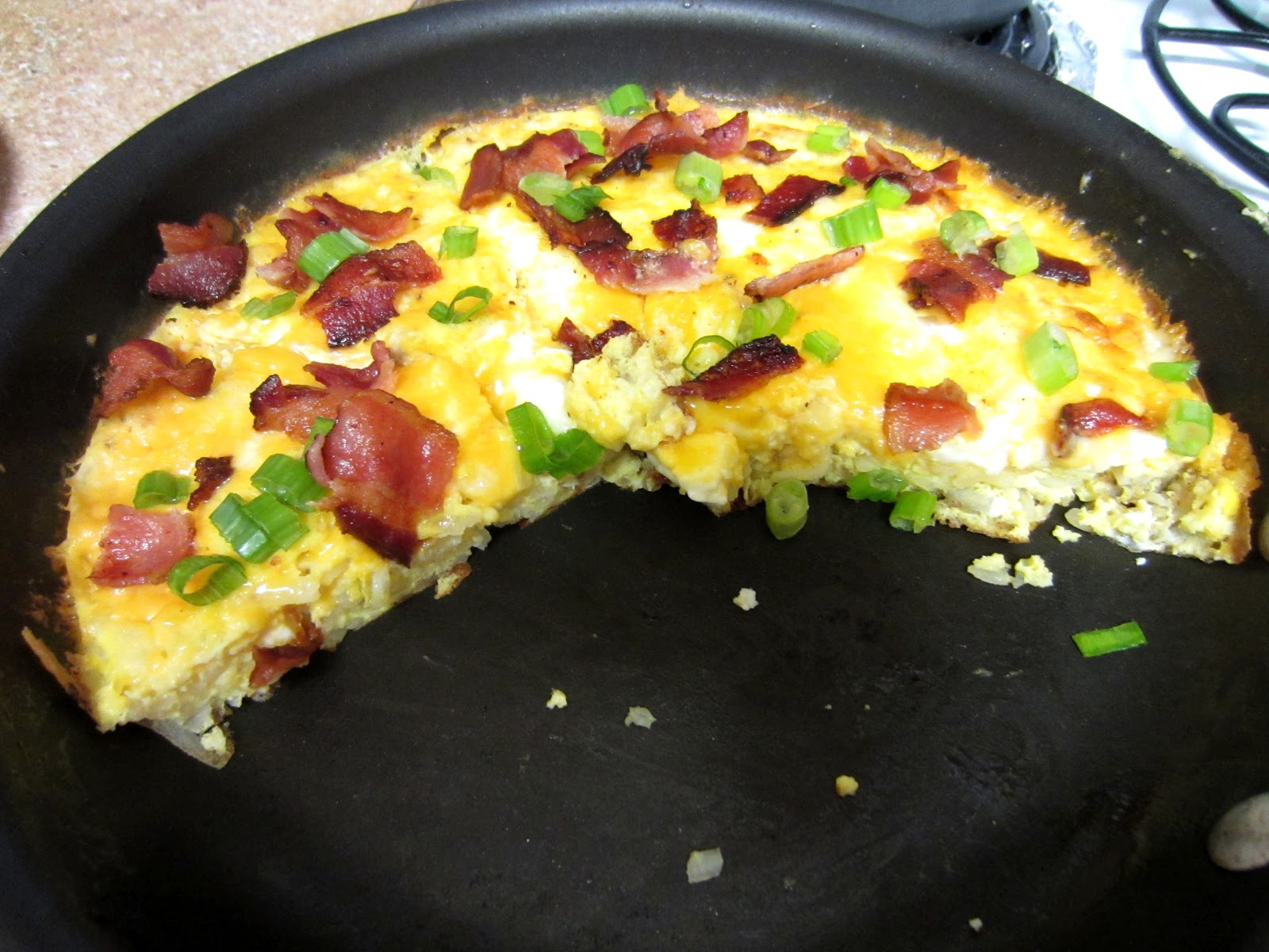 Cheesy Bacon Potato Frittata - Love to be in the Kitchen