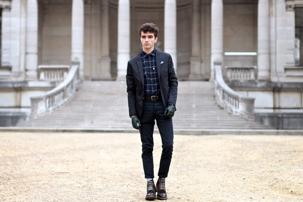 Blog Mode Homme Dandy Jack and Jones Blazer Chemise Aigle Shirt Asos Chino Pants Maison Fabre GLoves Brogue Boots Crampon Montre Daniel Wellington Watch Pochette Square