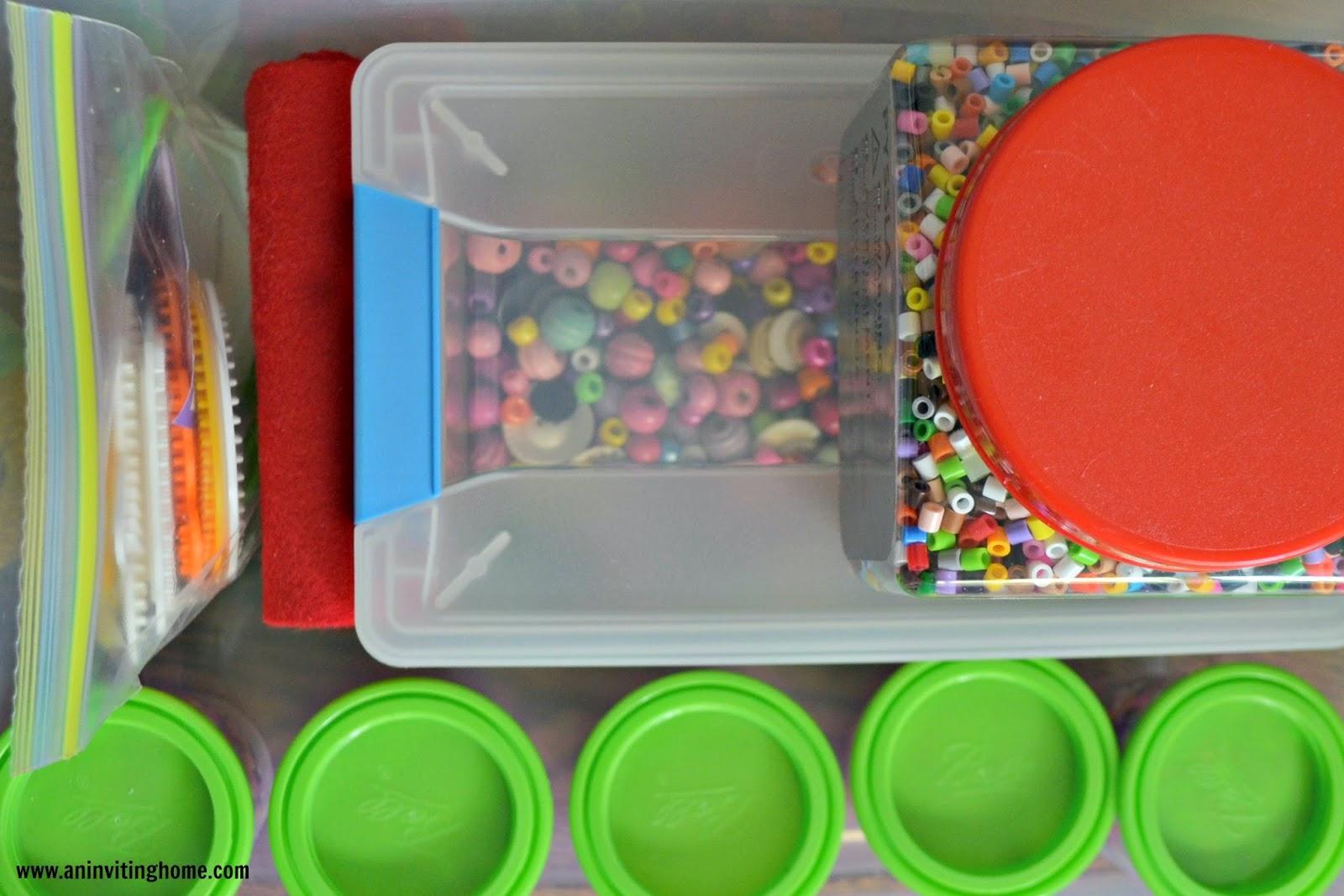 an organized tub for kids beading supplies