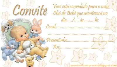 Convite chá de bebê Grátis  - Modelo bebezinho para imprimir e preencher