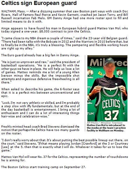 Boston Celtics sign European guard to roster 2013