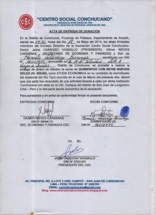 ACTA ENTREGA A MANUELA VALDIVIEZO CARRANZA