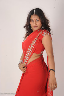 Mahait Actress wearing spicy Red HOt Saree Pictures