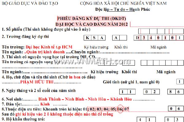 Hướng dẫn làm hồ sơ thi Đại học năm 2012 (Cách điền