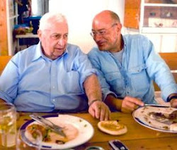 Arnon Milchan at a private lunch at Prime Minister Sharon's Ranch in Southern Israel