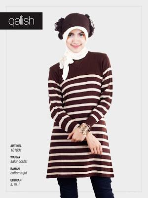Koleksi Qallish Busana Muslim Salur Coklat Model Kedua
