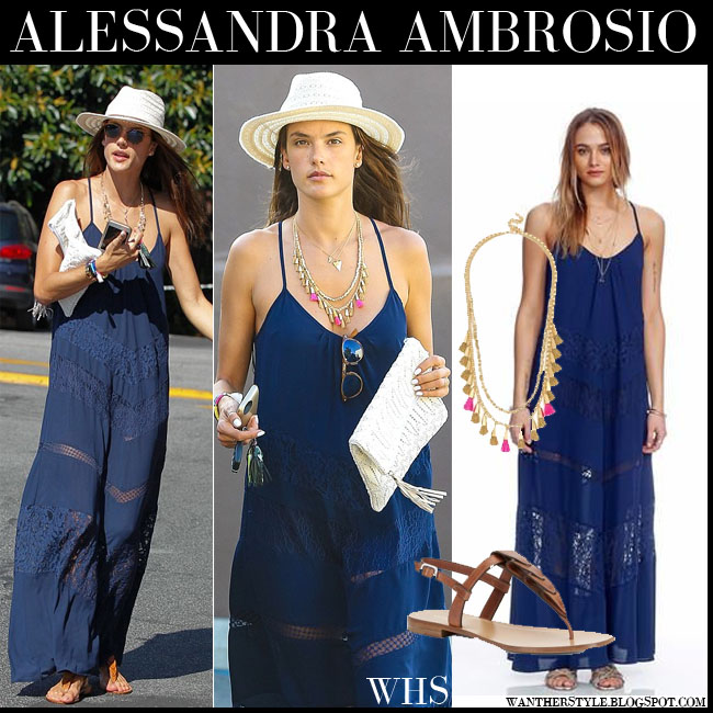 Alessandra Ambrosio in blule maxi Heartloom Ella dress with straw hat and brown sandals what she wore july 28