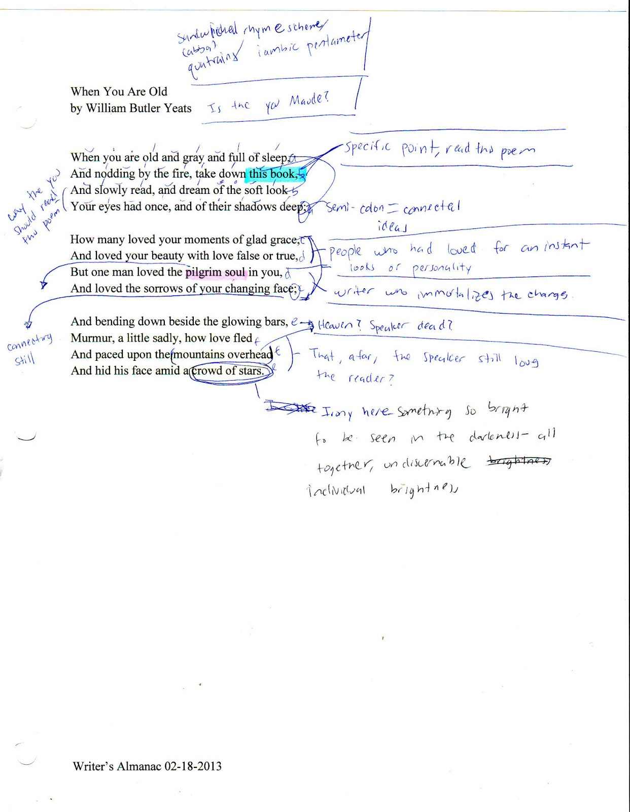 Examples List on Shakespeare Sonnet 130