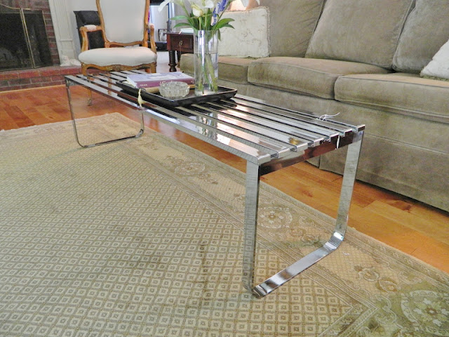 mid-century slatted bench
