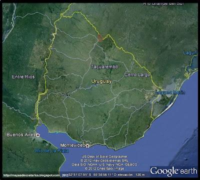 Mapa de URUGUAY, Google Earth